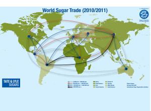 Mapa do comércio mundial de açúcar em 2010 / 2011
