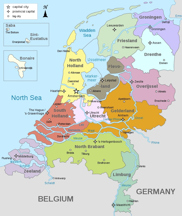 Mapa das províncias neerlandesas - Fonte: Wikipedia